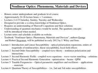 Nonlinear Optics: Phenomena, Materials and Devices