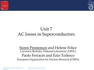 Unit 7 AC losses in Superconductors