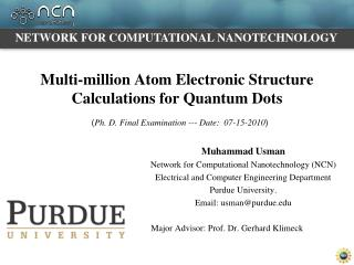 Multi-million Atom Electronic Structure Calculations for Quantum Dots