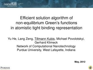 Efficient solution algorithm of  non-equilibrium Green's functions  in atomistic tight binding representation