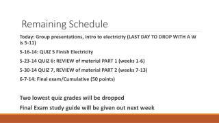 Remaining Schedule