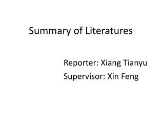 Summary  of Literatures Reporter : Xiang Tianyu Supervisor : Xin Feng