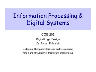 Information Processing & Digital Systems