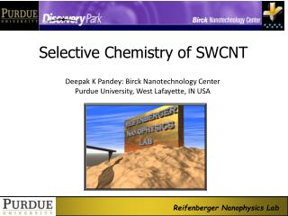 Selective Chemistry of SWCNT