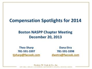 Compensation Spotlights for 2014 Boston NASPP Chapter Meeting December 20, 2013