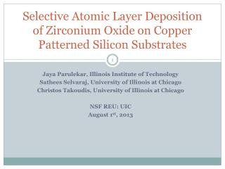 Selective Atomic Layer Deposition of Zirconium Oxide on Copper Patterned Silicon Substrates