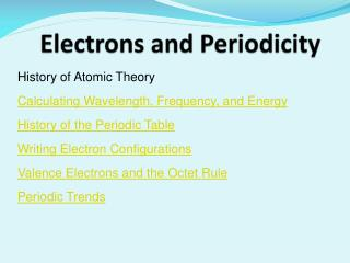 Electrons and Periodicity