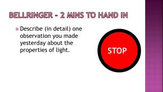 Bellringer – 2  mins  to hand in