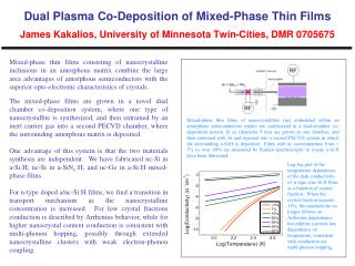 Dual Plasma Co-Deposition of Mixed-Phase Thin Films James  Kakalios , University of Minnesota Twin-Cities, DMR 0705675