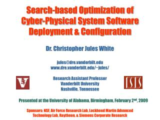 Search-based Optimization of  Cyber-Physical System Software Deployment & Configuration