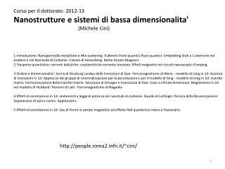 Corso per il dottorato- 2012-13 Nanostrutture e sistemi di bassa dimensionalita'