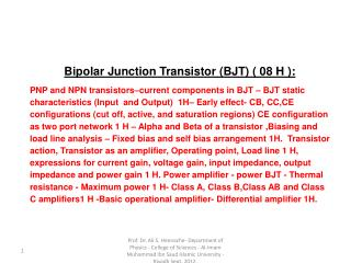 Bipolar Junction Transistor (BJT) ( 08 H ):