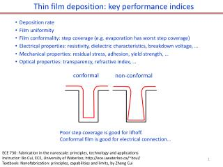 Thin film deposition: key performance indices