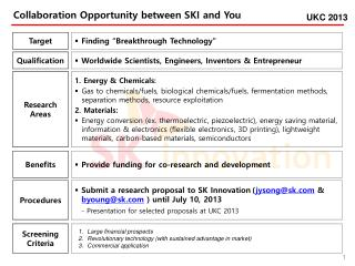 Collaboration Opportunity between SKI and  You