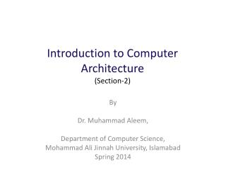 Introduction to Computer  Architecture (Section-2)