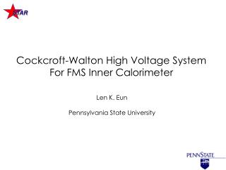 Cockcroft-Walton High Voltage System For FMS Inner Calorimeter