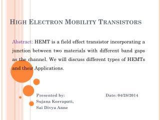 High Electron Mobility Transistors