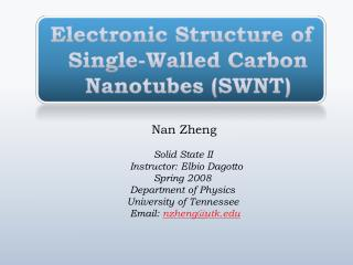 Electronic Structure of Single-Walled Carbon     Nanotubes  (SWNT)