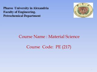 Pharos  University in Alexandria Faculty of Engineering. Petrochemical Department