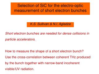 Selection of SiC for the electro-optic measurement of short electron bunches