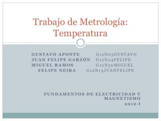 Trabajo de Metrología: Temperatura