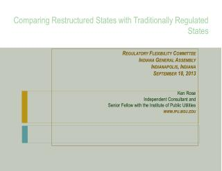Comparing Restructured States with Traditionally Regulated States