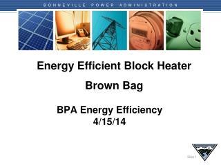 Energy Efficient Block Heater Brown Bag