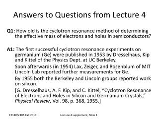 Answers to Questions from Lecture 4