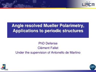 Angle  resolved  Mueller Polarimetry,  Applications to  periodic  structures