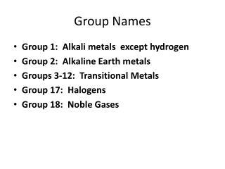 Group Names