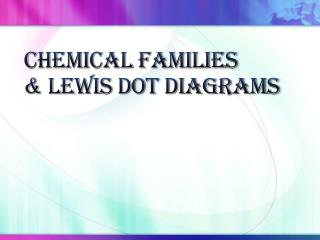 Chemical Families & Lewis Dot Diagrams