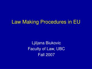 law making procedures in eu