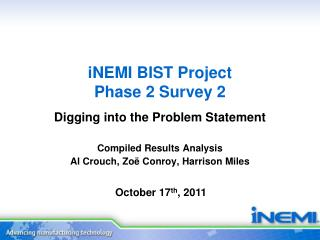 iNEMI  BIST Project Phase 2  Survey 2