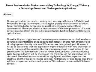 Power Semiconductor Devices an enabling Technology for Energy Efficiency -  Technology Trends and Challenges in Applica