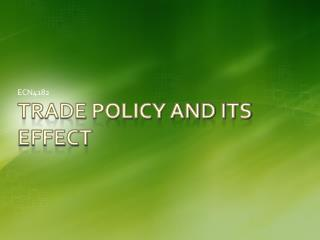 Trade Policy and Its Effect