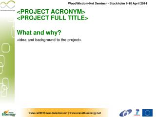 <PROJECT ACRONYM>  <PROJECT FULL TITLE>