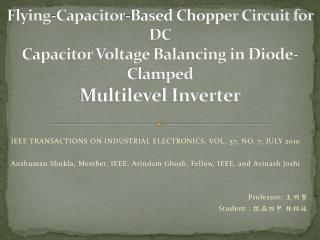 Flying-Capacitor-Based Chopper Circuit for DC Capacitor Voltage Balancing in Diode-Clamped Multilevel Inverter