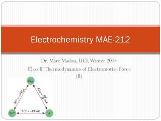 Electrochemistry MAE -212