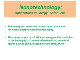 Nanotechnology : Applications  in Energy  –Solar Cells