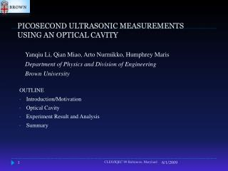 PICOSECOND ULTRASONIC MEASUREMENTS  USING AN OPTICAL CAVITY