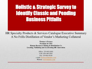 Holistic &  Strategic Survey  to  Identify Classic and Pending             Business  Pitfalls