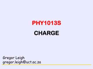 PHY1013S CHARGE