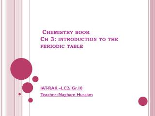 Chemistry book Ch 3: introduction to the periodic table