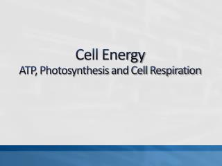 Cell Energy ATP, Photosynthesis and Cell Respiration