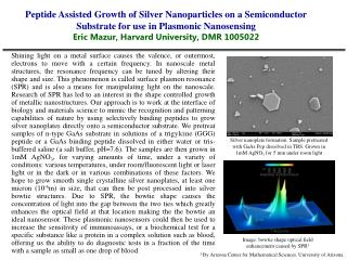 Peptide Assisted Growth of Silver Nanoparticles on a Semiconductor Substrate for use in Plasmonic  N anosensing Eric Ma