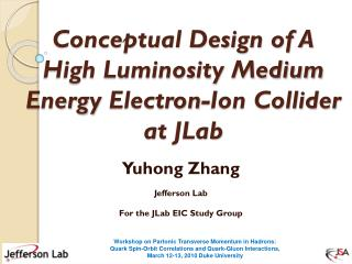 Conceptual Design of A  High Luminosity Medium Energy  Electron-Ion  Collider at  JLab