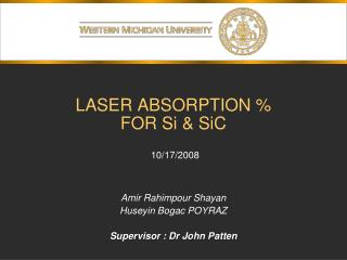 LASER ABSORPTION %  FOR Si &  SiC