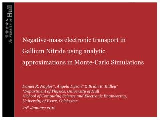 Negative-mass electronic transport in Gallium Nitride using analytic approximations in Monte-Carlo Simulations