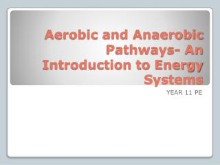 Aerobic and Anaerobic Pathways- An Introduction to Energy Systems