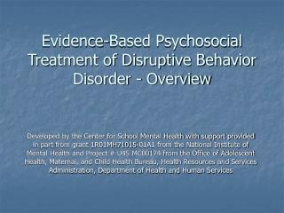 evidence-based psychosocial treatment of disruptive behavior disorder - overview